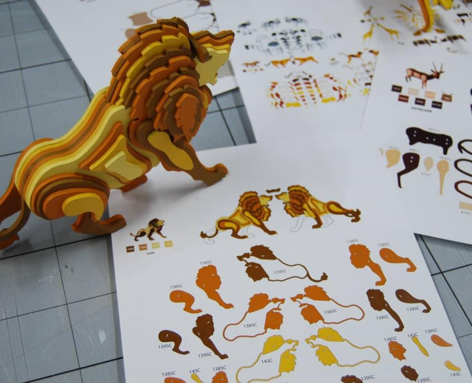 Bocetos para la fabricación de las muestras de las piezas 3D de animales