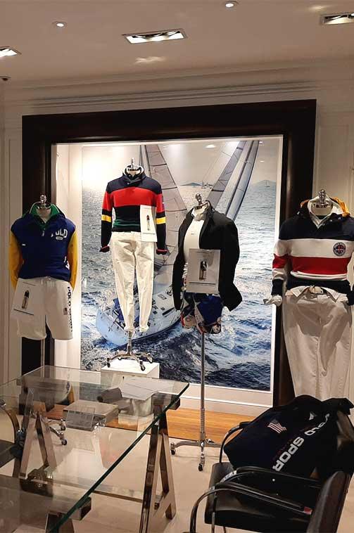 Decoración gráfica showroom Ralph Lauren Madrid