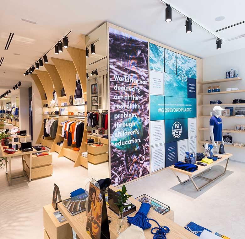 Fabricación de mobiliario comercial para tienda North Sails Madrid