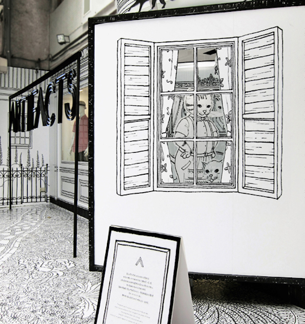 Cartelería ventana proyecto de Daizy Gallery para el aniversario ARTIFACTS