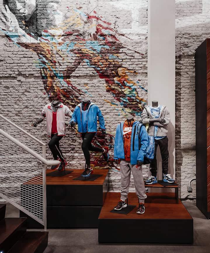 Instalación interior de tienda Nike Madrid