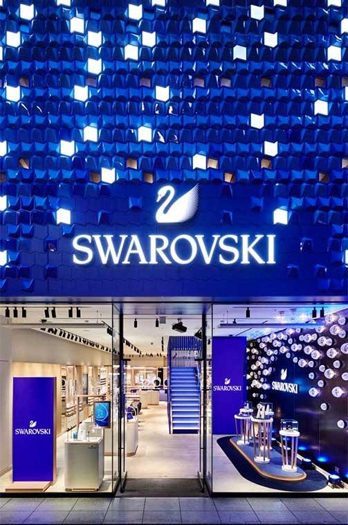 Rótulo retroiluminado fachadaSwarovski 'Crystal Studio'