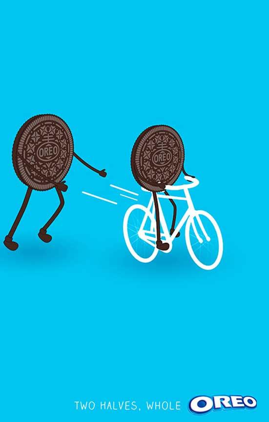 Cartel oreo, dos galletas en bicicleta