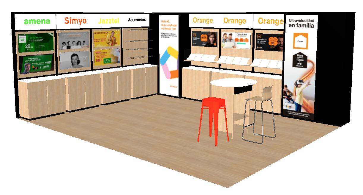 Tienda Orange para espacios comerciales Carrefour