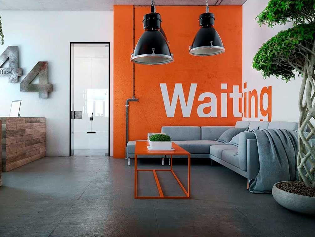 Señalización en muro pintado en interior de una oficina