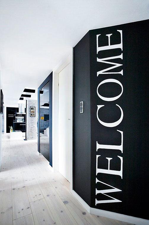 Welcome recibidor vinilo sobre pared