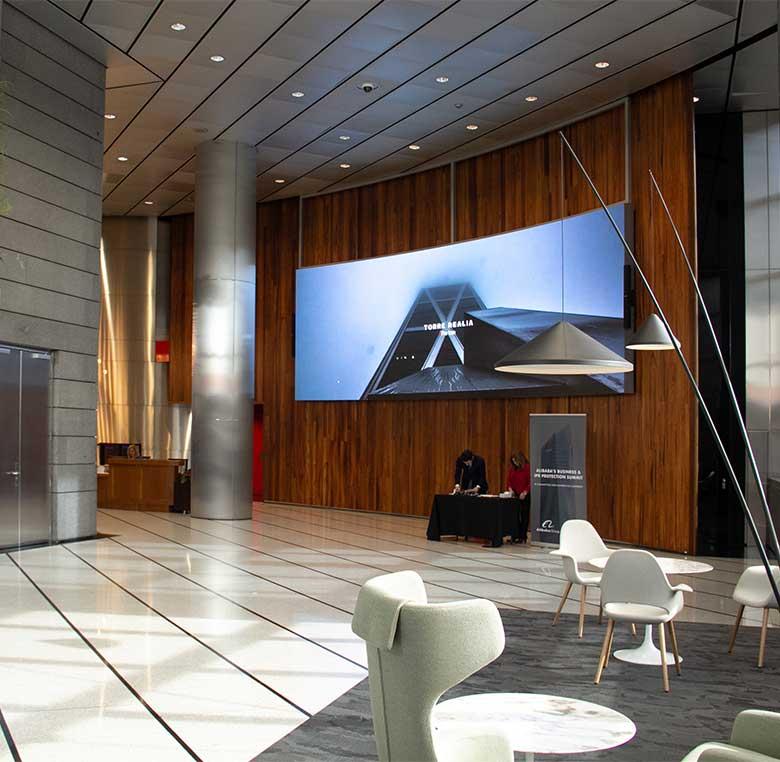 videowall digital gran formato edificio inteligente