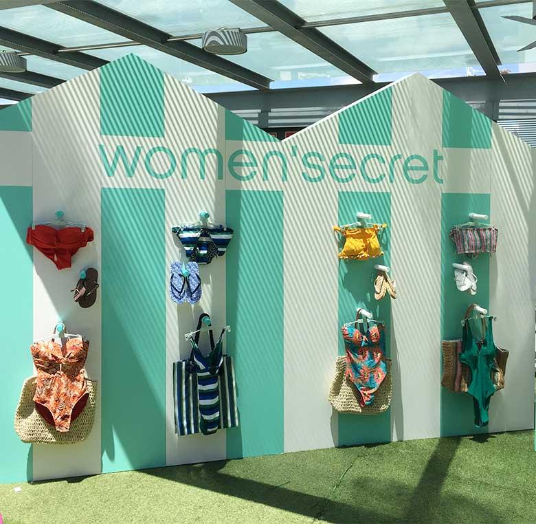 Evento Women Secret producion-mobiliario-exposición producto colección verano